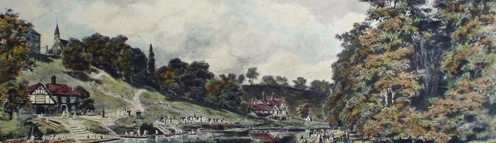 Shrewsbury School, The Regatta by Henry Wimbush - restrike etching, hand-coloured original print