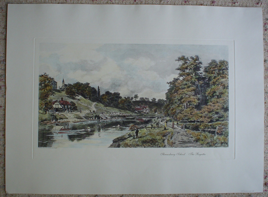 Shrewsbury School, The Regatta by Henry Wimbush, shown with full margins - restrike etching, hand-coloured original print