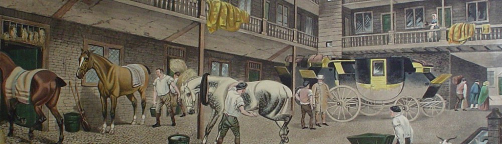 The Old Inn Yard by TNH Walsh - restrike etching, hand-coloured