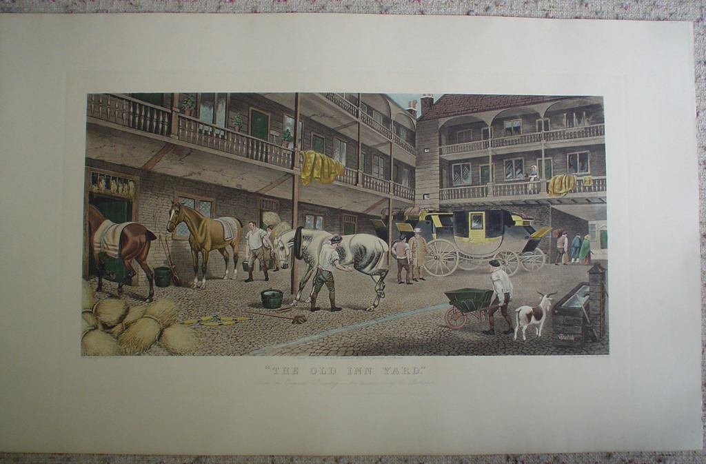 The Old Inn Yard by TNH Walsh, shown with full margins - restrike etching, hand-coloured