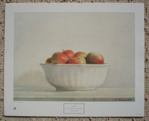 McIntosh Apples In A White Bowl by Elsie Manville, shown with full margins - offset lithograph fine art print
