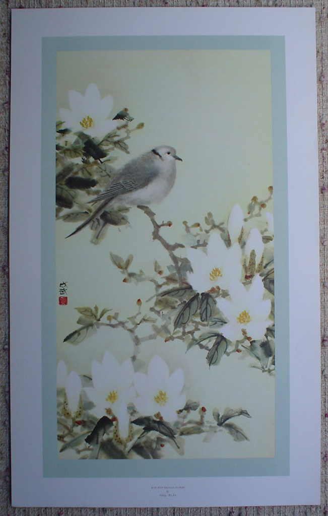 Dove With Magnolias by Cheng Wu Fei, shown with full margins - offset lithograph fine art print
