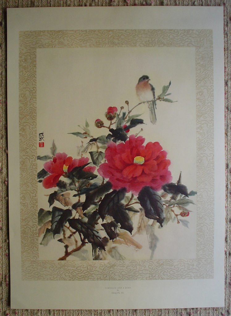 Camellia And A Bird by Cheng Wu Fei, shown with full margins - offset lithograph fine art print