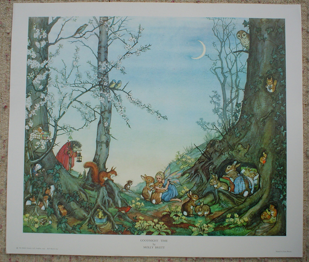 Goodnight Time by Molly Brett, shown with full margins - offset lithograph fine art print