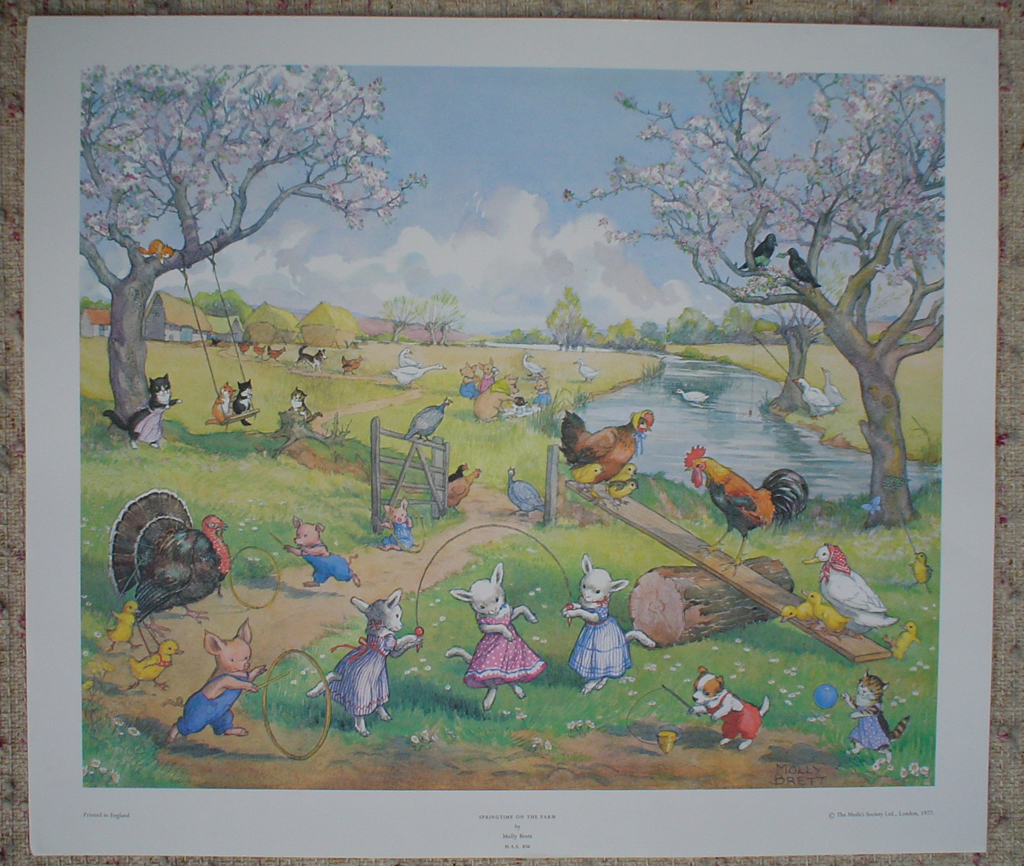 Springtime On The Farm by Molly Brett, shown with full margins - offset lithograph fine art print