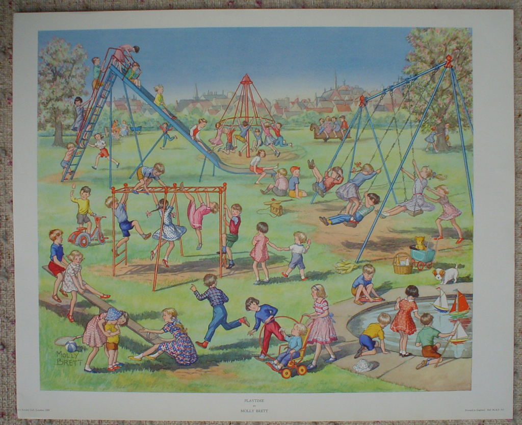 Playtime 1959 by Molly Brett, shown with full margins - offset lithograph fine art print