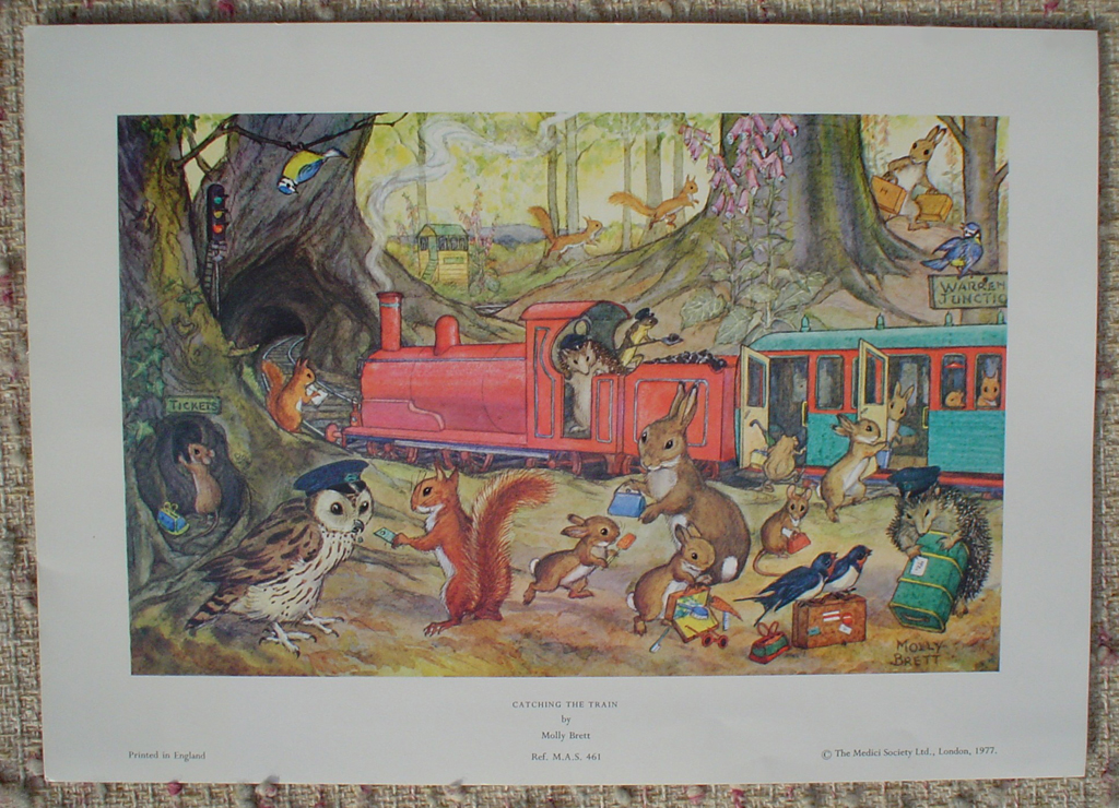 Catching The Train by Molly Brett, shown with full margins - offset lithograph fine art print