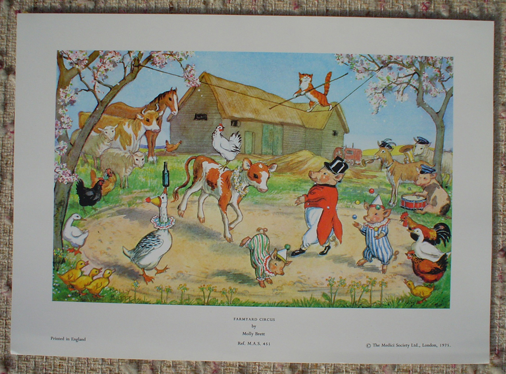 Farmyard Circus by Molly Brett, shown with full margins - offset lithograph fine art print
