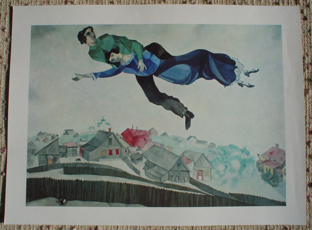 Lovers Above Town by Marc Chagall, shown with full margins - offset lithograph fine art print