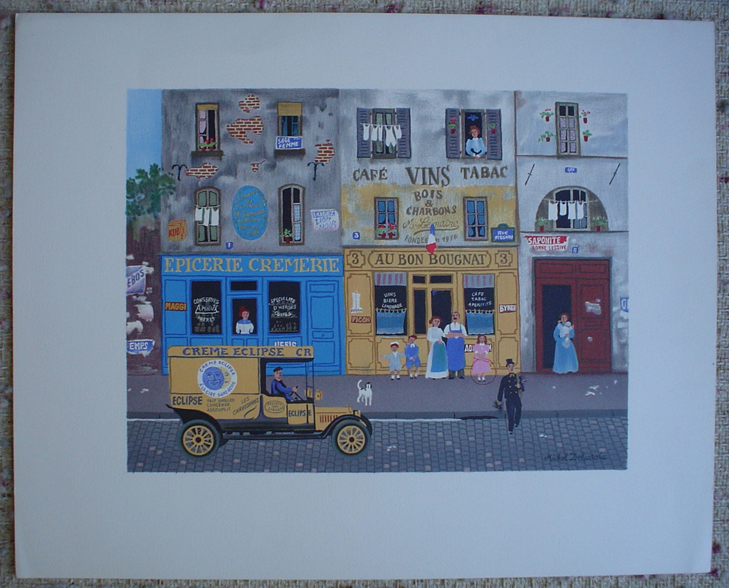 French Shops Street Scene by Michel Delacroix, shown with full margins - limited edition lithograph print