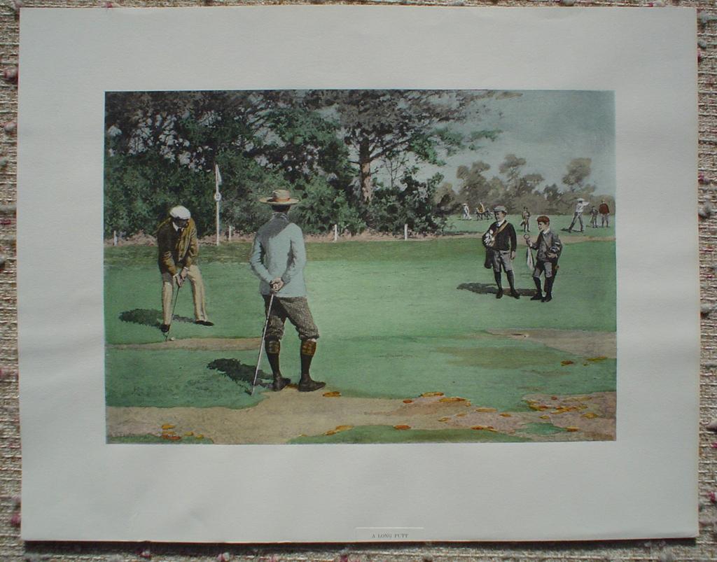 A Long Putt: Golfing Scene by A.B. (Arthur Burdett) Frost, shown with full margins - offset lithograph fine art print