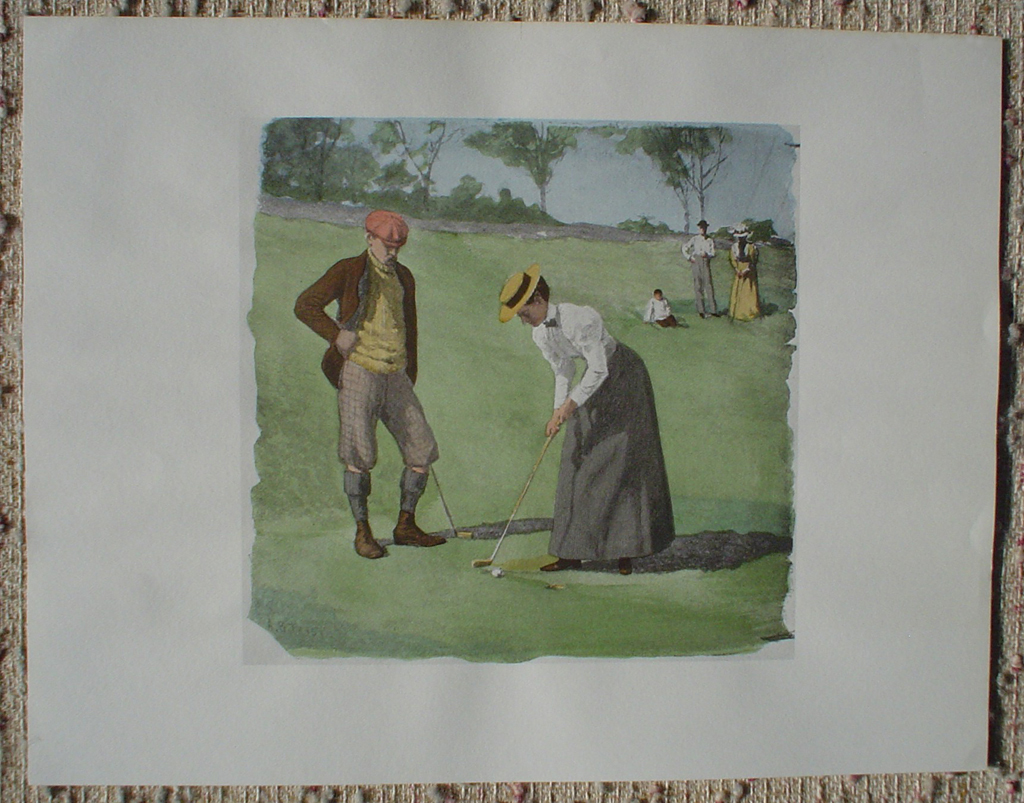 A Twosome Golfing by A.B. (Arthur Burdett) Frost, shown with full margins - offset lithograph fine art print