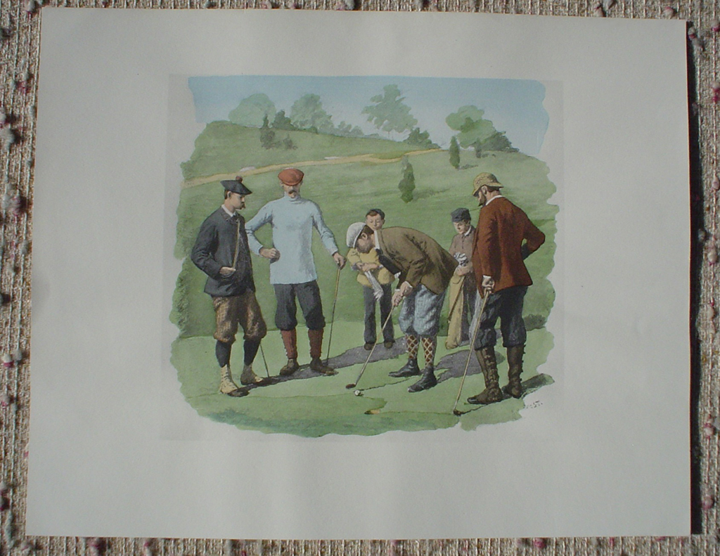 Spring Golfing Scene: Leg Wrappings by A.B. (Arthur Burdett) Frost, shown with full margins - offset lithograph fine art print