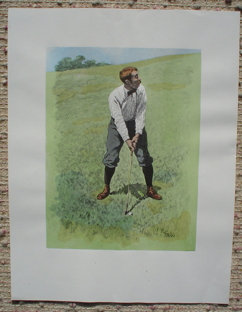 Fore: Golfing Scene by A.B. Frost, shown with full margins - offset lithograph fine art reproduction