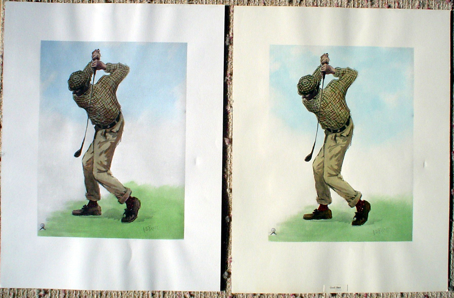 Left stock id fa008pv offset lithograph fine art print compared to right