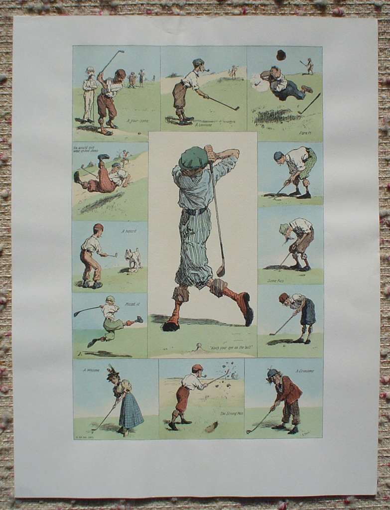 Golfing Incidents by A.B. (Arthur Burdett) Frost, shown with full margins - offset lithograph fine art print