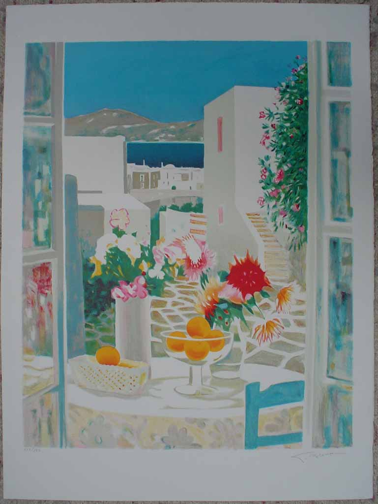 Mediterranean Street View/ Still Life With Flowers And Fruit by George Blouin, shown with full margins - original lithograph, signed and numbered 115/ 180