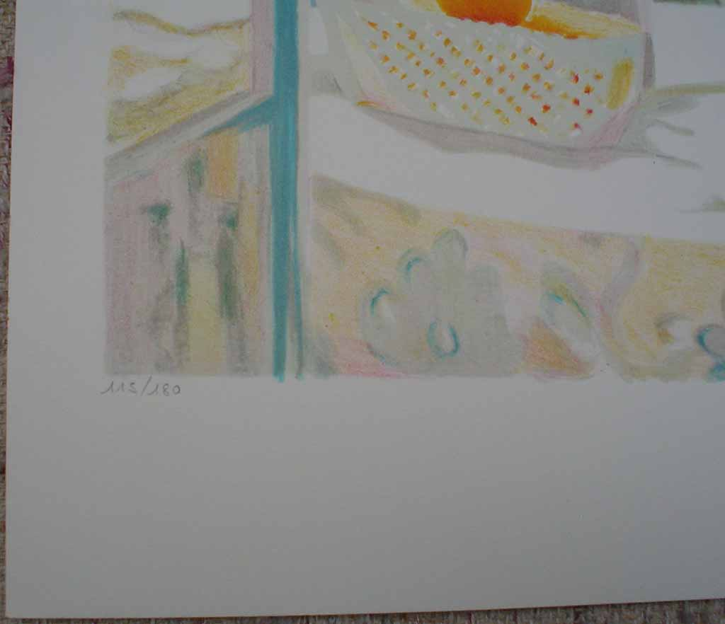 Mediterranean Street View/ Still Life With Flowers And Fruit by George Blouin, edition detail - original lithograph, signed and numbered 115/ 180