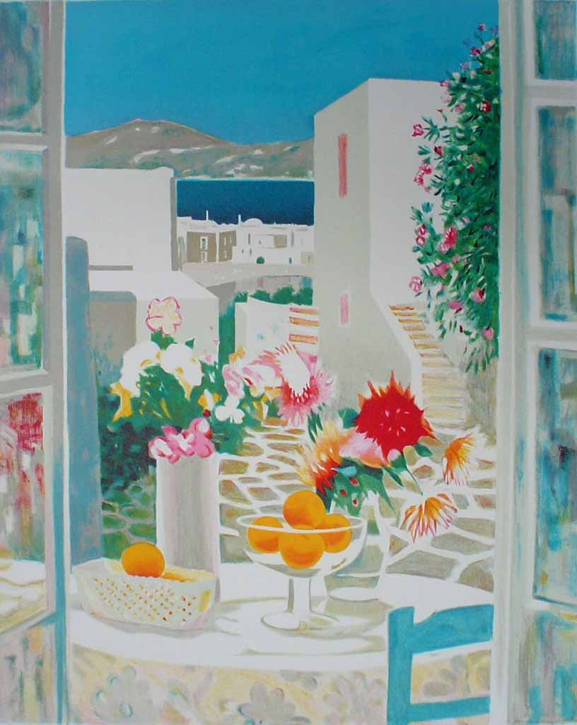 Mediterranean Street View/ Still Life With Flowers And Fruit by George Blouin - original lithograph, signed and numbered 115/ 180