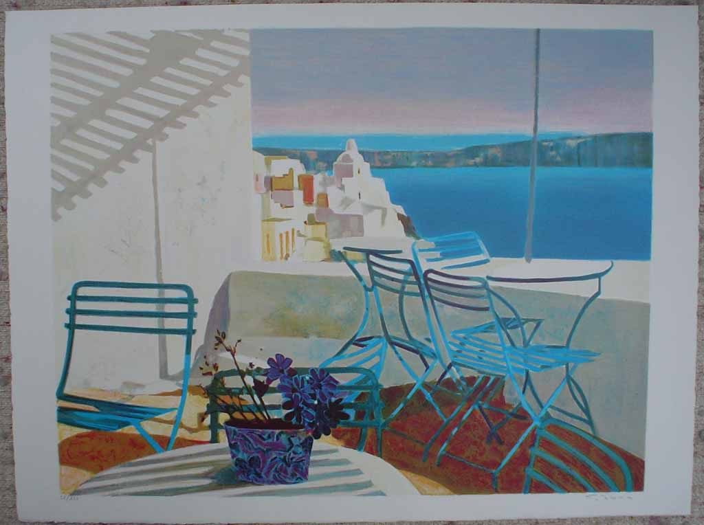 Terrasse Au Soleil/ Mediterranean View by George Blouin, shown with full margins - original lithograph, signed and numbered 52/ 180