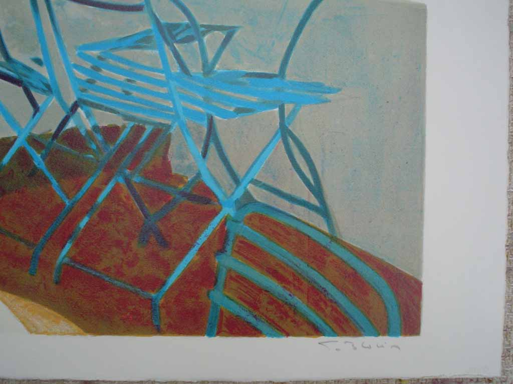 Terrasse Au Soleil/ Mediterranean View by George Blouin, signature detail - original lithograph, signed and numbered 52/ 180