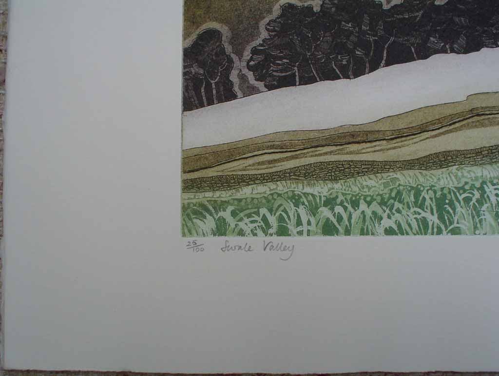 Swale Valley by Robert Barnes, title detail - original etching, signed and numbered 25/ 100