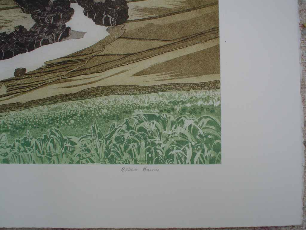 Swale Valley by Robert Barnes, signature detail - original etching, signed and numbered 25/ 100