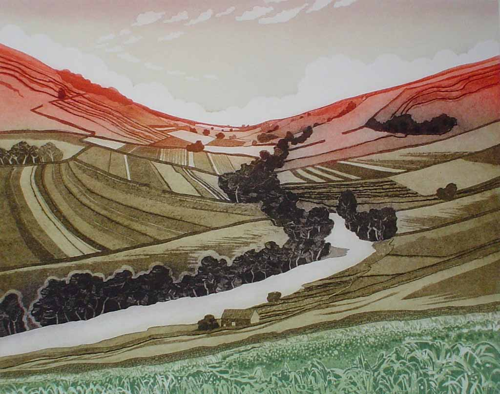 Swale Valley by Robert Barnes - original etching, signed and numbered 25/ 100