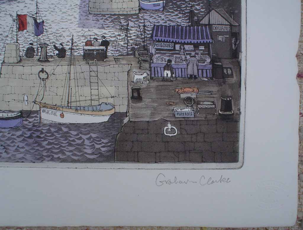 Fare-Ye-Well by Graham Clarke, signature detail - original etching, hand-coloured, signed and numbered 255/ 300