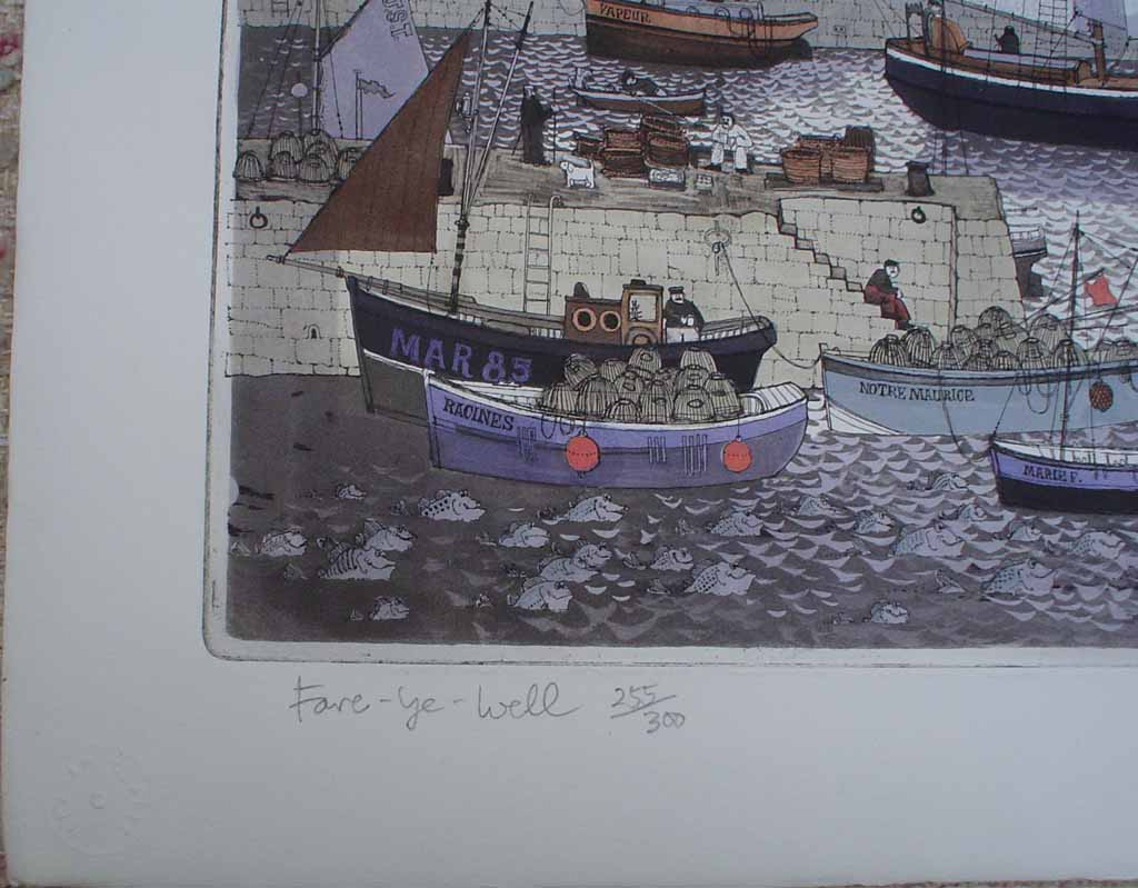 Fare-Ye-Well by Graham Clarke, title detail - original etching, hand-coloured, signed and numbered 255/ 300
