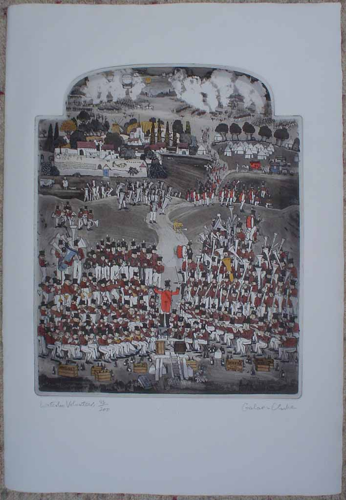 Waterloo Volunteers by Graham Clarke, History of England series, Portfolio Edition, shown with full margins - original hand-coloured etching, signed and numbered 83/200