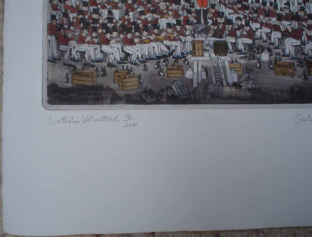 Waterloo Volunteers by Graham Clarke, History of England series, Portfolio Edition, title detail - original hand-coloured etching, signed and numbered 83/200