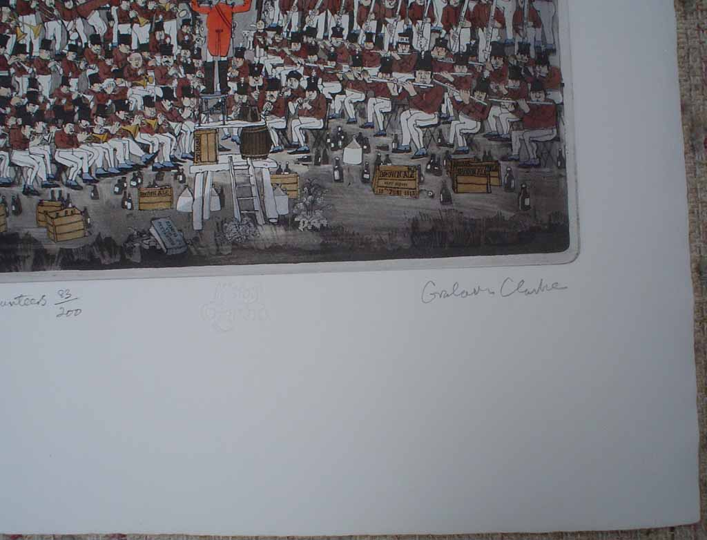 Waterloo Volunteers by Graham Clarke, History of England series, Portfolio Edition, signature detail - original hand-coloured etching, signed and numbered 83/200
