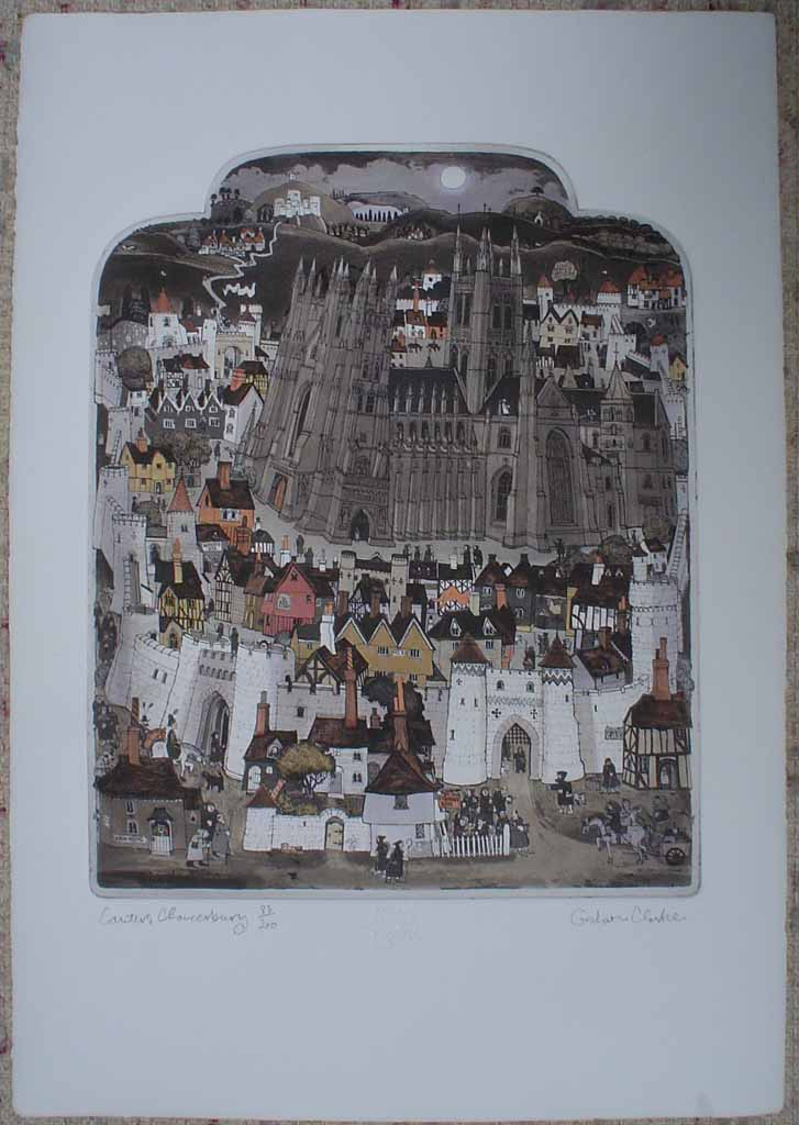 Canters Chaucerbury by Graham Clarke, History of England series, shown with full margins - original hand-coloured etching, signed and numbered 83/200