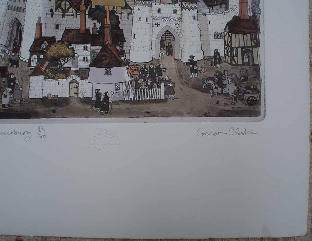 Canters Chaucerbury by Graham Clarke, signature detail, History of England series - original hand-coloured etching, signed and numbered 83/200