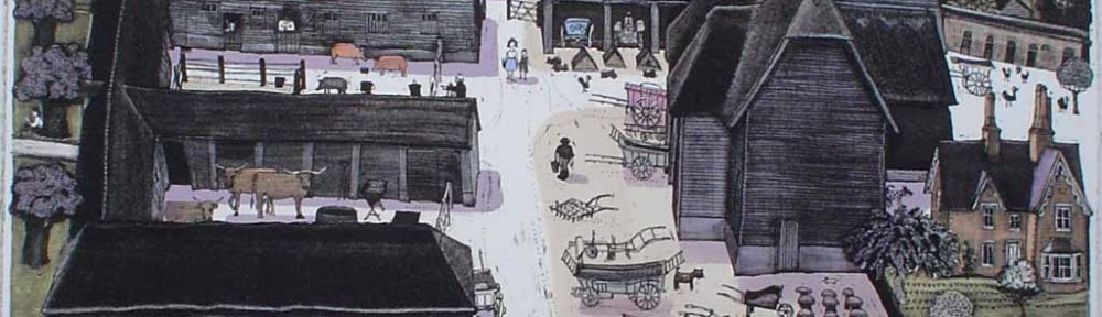Wimpole Home Farm by Graham Clarke - original hand-coloured etching, signed and numbered 165/ 350