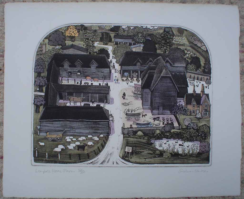 Wimpole Home Farm by Graham Clarke, shown with full margins - original hand-coloured etching, signed and numbered 165/ 350