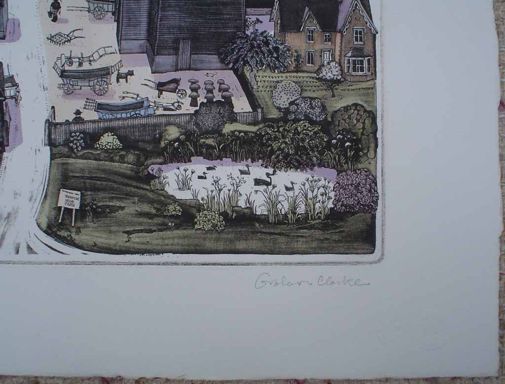 Wimpole Home Farm by Graham Clarke, signature detail - original hand-coloured etching, signed and numbered 165/ 350