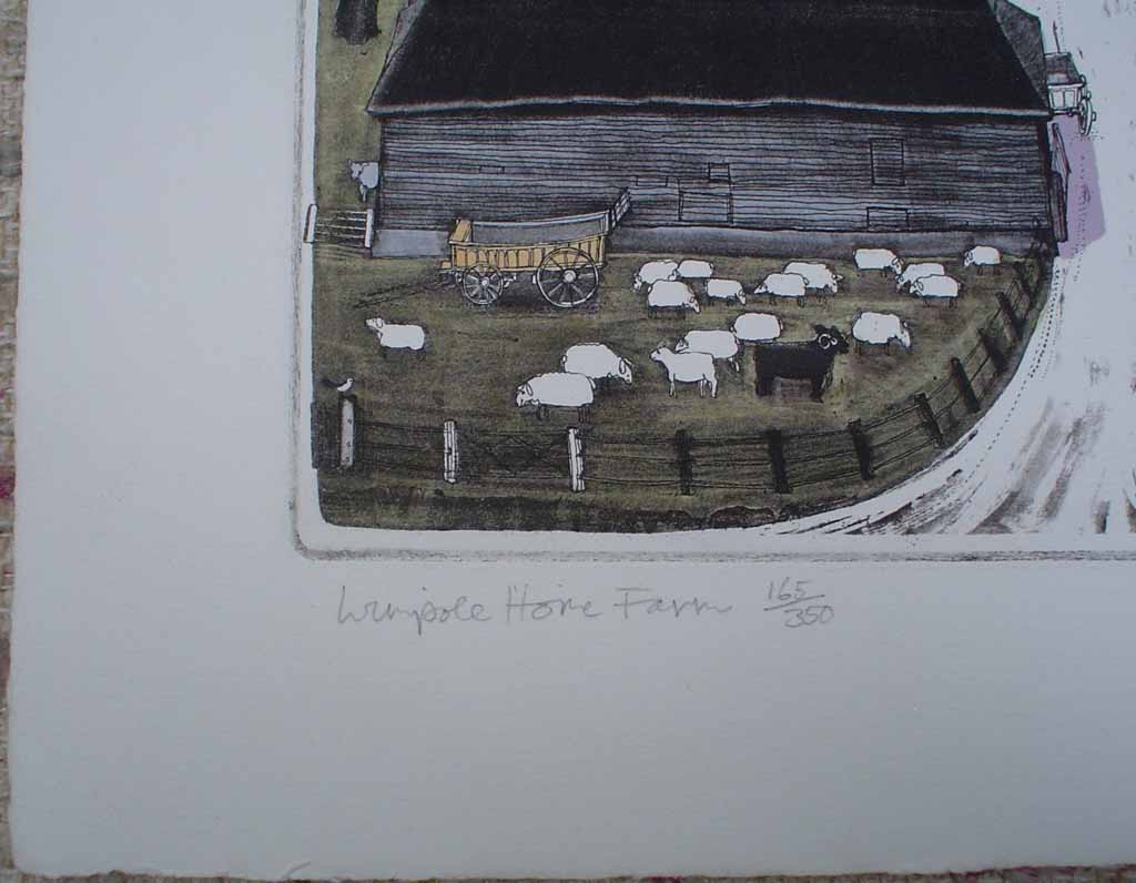 Wimpole Home Farm by Graham Clarke, title detail - original hand-coloured etching, signed and numbered 165/ 350
