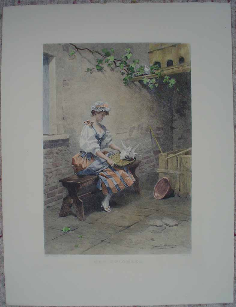 Mes Colombes by Daniel Hernandez, shown with full margins - etching, hand-coloured