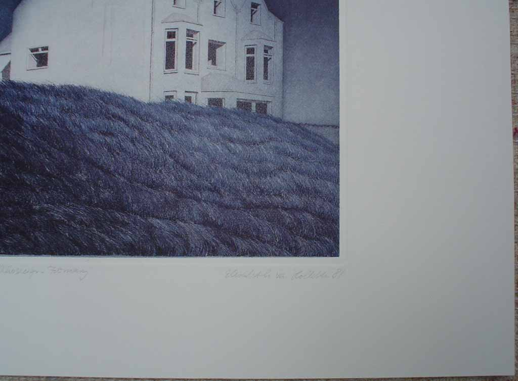 Rhosneiger/February by Elisabeth Van Holleben, title and signature detail - original etching, signed and numbered 30/ 100