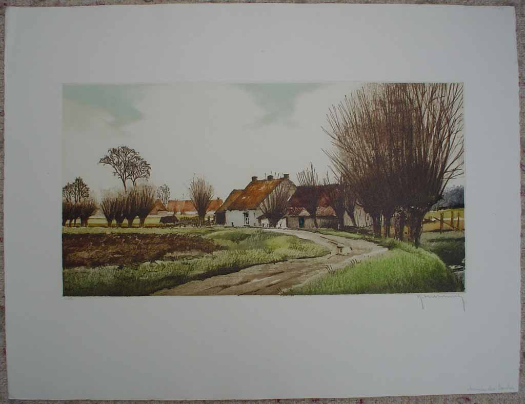 Chemin Des Gaules by Roger Hebbelinck, shown with full margins - original hand-coloured etching, signed and numbered 116/ 350