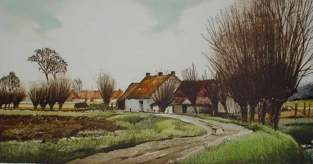 Chemin Des Gaules by Roger Hebbelinck - original hand-coloured etching, signed and numbered 116/ 350
