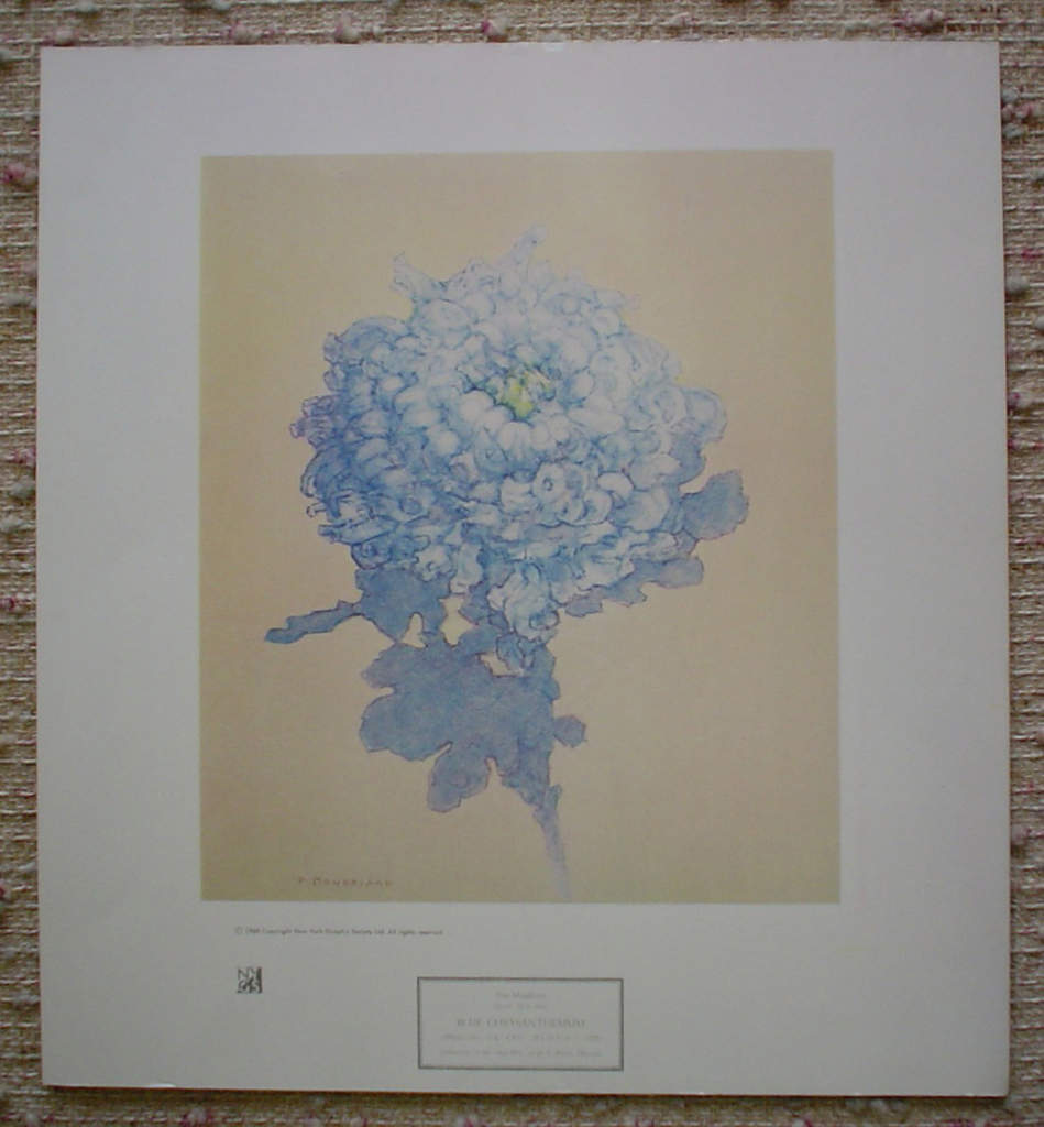 Blue Chrysanthemum by Piet Mondrian, shown with full margins - collectible collotype art print
