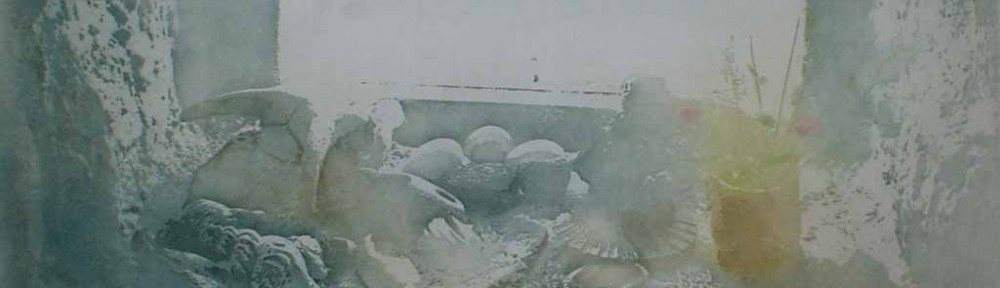 Hebridean Windowsill/ Egg by Donald Wilkinson - original lithograph, signed and numbered 4/ 90