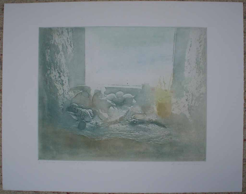 Hebridean Windowsill/ Egg by Donald Wilkinson, shown with full margins - original lithograph, signed and numbered 4/ 90
