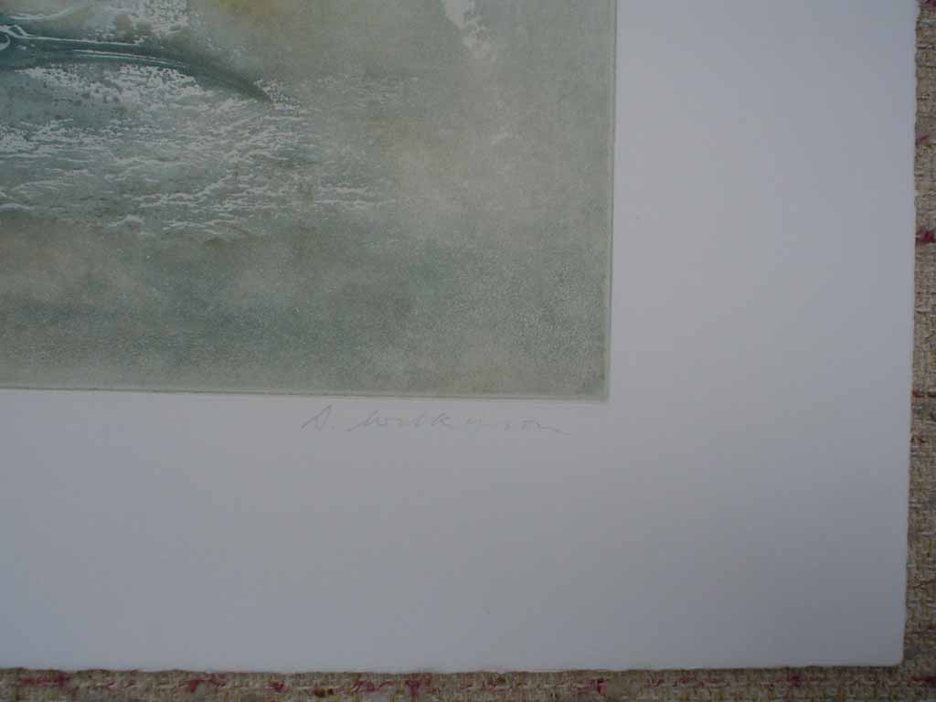 Hebridean Windowsill/ Egg by Donald Wilkinson, signature detail - original lithograph, signed and numbered 4/ 90