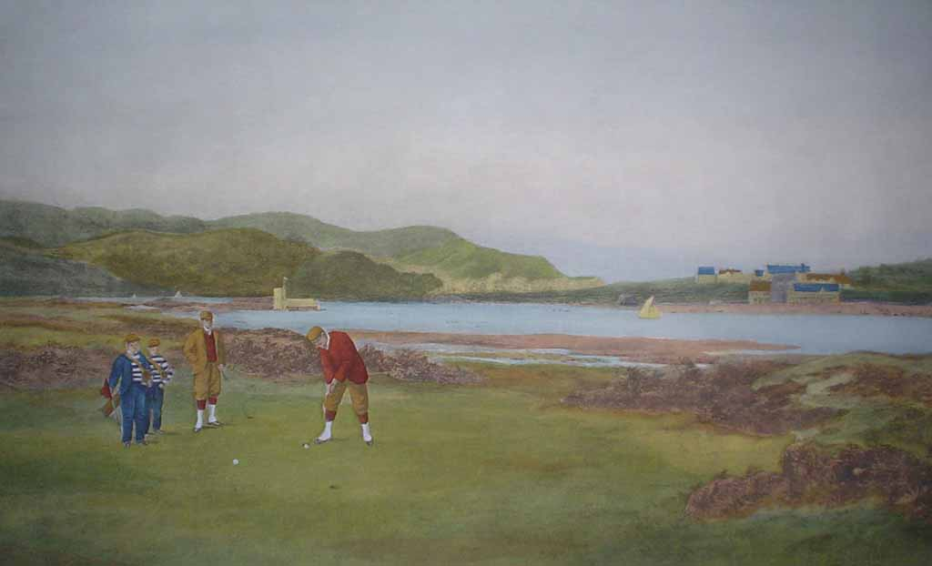 The Putting Green by Douglas Adams - offset lithograph vintage fine art reproduction
