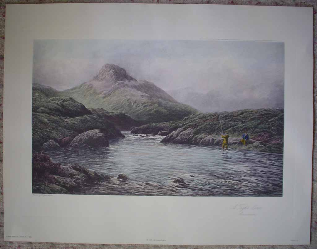 A Tight Line, Connemara by Douglas Adams, shown with full margins - offset lithograph vintage fine art reproduction
