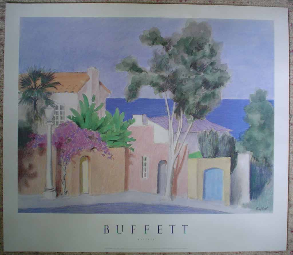 Pastels, La Vista by William Buffett, shown with full margins - offset lithograph vintage fine art poster print